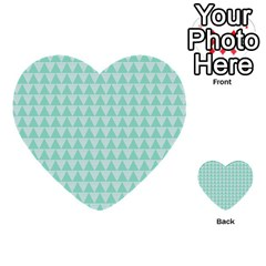 Mint Color Triangle Pattern Multi Purpose Cards (heart)  by picsaspassion