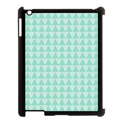 Mint color triangle pattern Apple iPad 3/4 Case (Black) by picsaspassion