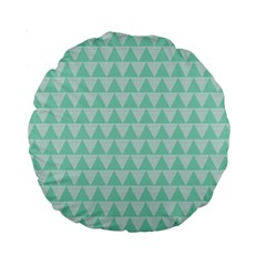 Mint Color Triangle Pattern Standard 15  Premium Round Cushions by picsaspassion