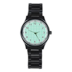 Mint Color Triangle Pattern Stainless Steel Round Watch by picsaspassion
