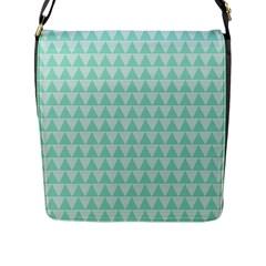 Mint Color Triangle Pattern Flap Messenger Bag (l)  by picsaspassion