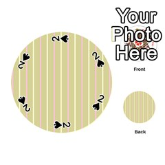 Summer Sand Color Pink And Yellow Stripes Playing Cards 54 (round) by picsaspassion