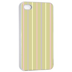 Summer Sand Color Lilac Pink Yellow Stripes Pattern Apple Iphone 4/4s Seamless Case (white) by picsaspassion