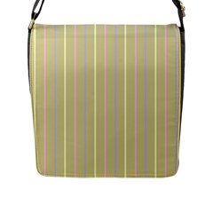 Summer Sand Color Lilac Pink Yellow Stripes Pattern Flap Messenger Bag (l)  by picsaspassion