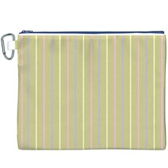 Summer Sand Color Lilac Pink Yellow Stripes Pattern Canvas Cosmetic Bag (xxxl) by picsaspassion