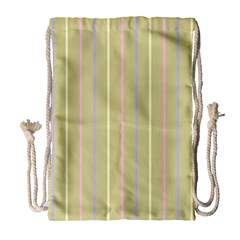Summer Sand Color Lilac Pink Yellow Stripes Pattern Drawstring Bag (large) by picsaspassion