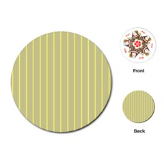 Summer Sand Color Yellow Stripes Pattern Playing Cards (round)  by picsaspassion