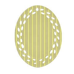 Summer Sand Color Yellow Stripes Pattern Ornament (oval Filigree)  by picsaspassion