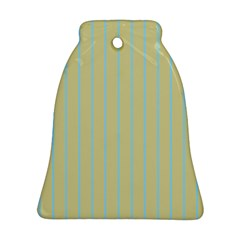 Summer Sand Color Blue Stripes Pattern Bell Ornament (2 Sides) by picsaspassion