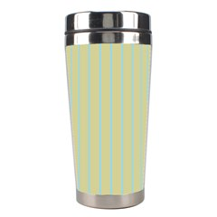 Summer Sand Color Blue Stripes Pattern Stainless Steel Travel Tumblers by picsaspassion
