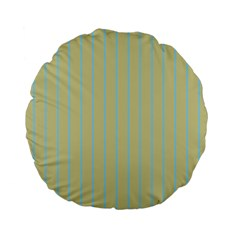 Summer Sand Color Blue Stripes Pattern Standard 15  Premium Flano Round Cushions by picsaspassion
