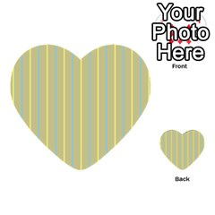 Summer Sand Color Blue And Yellow Stripes Pattern Multi Purpose Cards (heart)  by picsaspassion