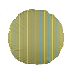 Summer Sand Color Blue And Yellow Stripes Pattern Standard 15  Premium Round Cushions by picsaspassion