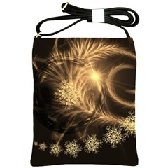 Golden Feather And Ball Decoration Shoulder Sling Bags by picsaspassion