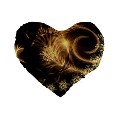 Golden Feather And Ball Decoration Standard 16  Premium Heart Shape Cushions by picsaspassion