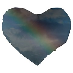 Rainbow In The Sky Large 19  Premium Heart Shape Cushions by picsaspassion