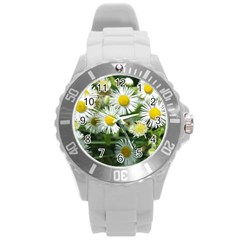 White summer flowers, watercolor painting Round Plastic Sport Watch (L) by picsaspassion