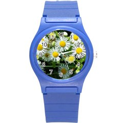 White Summer Flowers Oil Painting Art Round Plastic Sport Watch (s) by picsaspassion