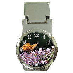 Butterfly sitting on flowers Money Clip Watches by picsaspassion
