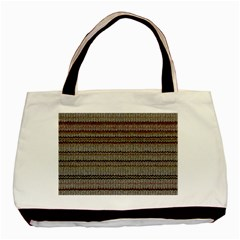 Stripy Knitted Wool Fabric Texture Basic Tote Bag (Two Sides) by Zeze