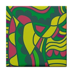 Green Abstract Decor Face Towel by Valentinaart