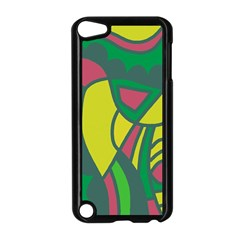 Green Abstract Decor Apple Ipod Touch 5 Case (black) by Valentinaart