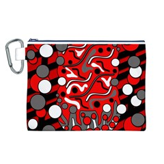 Red Mess Canvas Cosmetic Bag (l) by Valentinaart