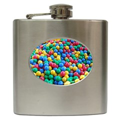 Funny Colorful Red Yellow Green Blue Kids Play Balls Hip Flask (6 Oz) by yoursparklingshop