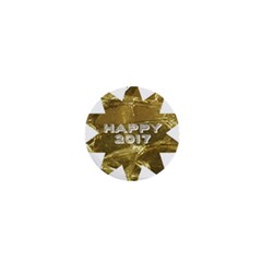 Happy New Year 2017 Gold White Star 1  Mini Buttons by yoursparklingshop