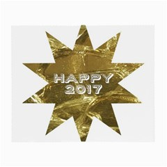 Happy New Year 2017 Gold White Star Small Glasses Cloth (2 Side) by yoursparklingshop