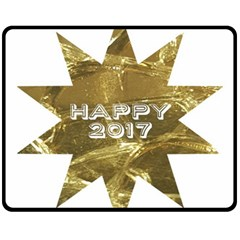 Happy New Year 2017 Gold White Star Fleece Blanket (medium)  by yoursparklingshop