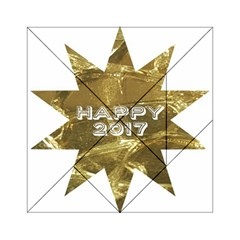 Happy New Year 2017 Gold White Star Acrylic Tangram Puzzle (6  x 6 ) by yoursparklingshop