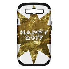 Happy New Year 2017 Gold White Star Samsung Galaxy S III Hardshell Case (PC+Silicone) by yoursparklingshop
