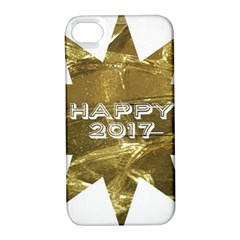 Happy New Year 2017 Gold White Star Apple Iphone 4/4s Hardshell Case With Stand by yoursparklingshop