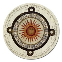 Ancient Aztec Sun Calendar 1790 Vintage Drawing Magnet 5  (round) by yoursparklingshop