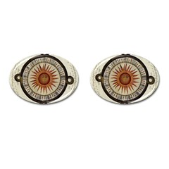 Ancient Aztec Sun Calendar 1790 Vintage Drawing Cufflinks (oval) by yoursparklingshop