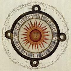 Ancient Aztec Sun Calendar 1790 Vintage Drawing Canvas 12  X 12   by yoursparklingshop