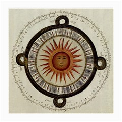 Ancient Aztec Sun Calendar 1790 Vintage Drawing Medium Glasses Cloth by yoursparklingshop