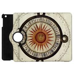 Ancient Aztec Sun Calendar 1790 Vintage Drawing Apple Ipad Mini Flip 360 Case by yoursparklingshop