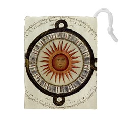 Ancient Aztec Sun Calendar 1790 Vintage Drawing Drawstring Pouches (extra Large) by yoursparklingshop