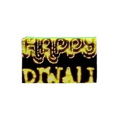 Happy Diwali Yellow Black Typography Cosmetic Bag (xs) by yoursparklingshop