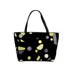 Yellow And Gray Abstract Art Shoulder Handbags by Valentinaart