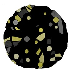 Yellow And Gray Abstract Art Large 18  Premium Flano Round Cushions by Valentinaart