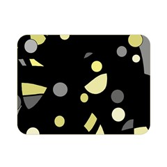 Yellow And Gray Abstract Art Double Sided Flano Blanket (mini)  by Valentinaart