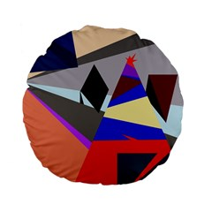 Geometrical abstract design Standard 15  Premium Flano Round Cushions by Valentinaart