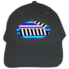 Blue Lines Decor Black Cap by Valentinaart
