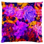 Purple Painted Floral and Succulents Large Cushion Case (Two Sided)