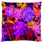 Purple Painted Floral and Succulents Large Flano Cushion Case (One Side)