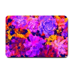 Purple Painted Floral And Succulents Small Door Mat by LisaGuenDesign