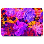 Purple Painted Floral and Succulents Large Door Mat